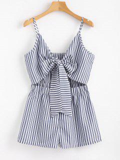 Cami Striped Tie Front Romper - Denim Dark Blue S