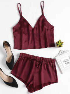 Ensemble Pyjama Top Et Short En Satin - Rouge Vineux S