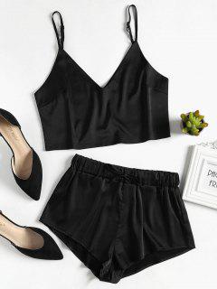Ensemble Pyjama Top Et Short En Satin - Noir S