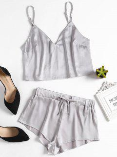 Cami Top And Shorts Satin Pajama Set - Silver M