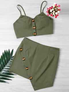 Buttoned Crop Top And Mini Skirt Set - Army Green M