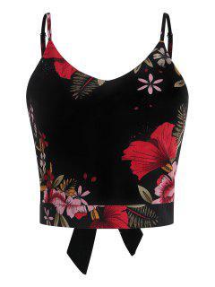 Camiseta Sin Mangas Anudada Floral Anudada - Negro L
