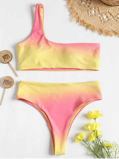 hot Ombre One Shoulder High Waisted Bikini - MULTI M Mobile