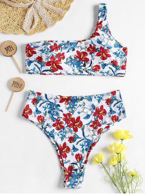 Bikini Fleuri à Taille Haute à Une épaule - Geai bleu S Mobile