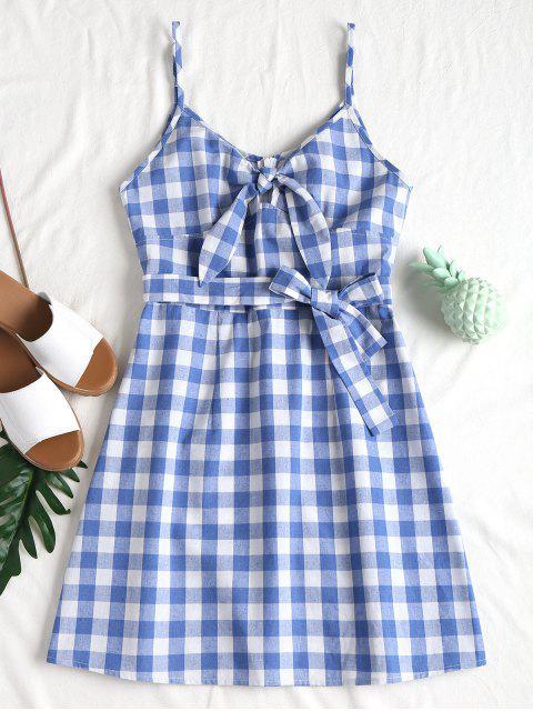 fancy Plaid Tied Front Cami Dress - LIGHT SKY BLUE L Mobile