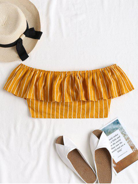 best Striped Off Shoulder Blouse - SCHOOL BUS YELLOW S Mobile