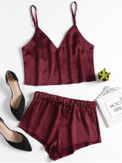 buy Cami Top and Shorts Satin Pajama Set - RED WINE S Mobile