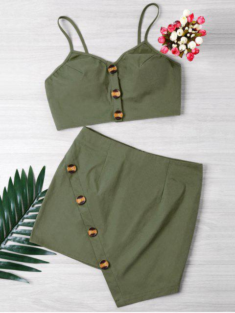 hot Buttoned Crop Top And Mini Skirt Set - ARMY GREEN S Mobile