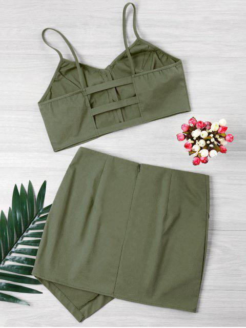 shop Buttoned Crop Top And Mini Skirt Set - ARMY GREEN XL Mobile