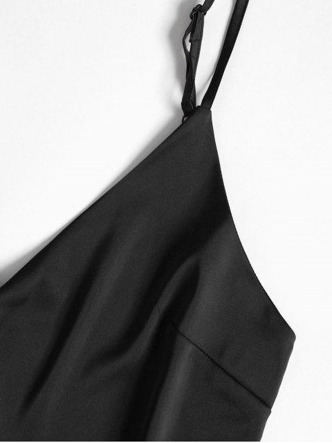 affordable Cami Top and Shorts Satin Pajama Set - BLACK S Mobile