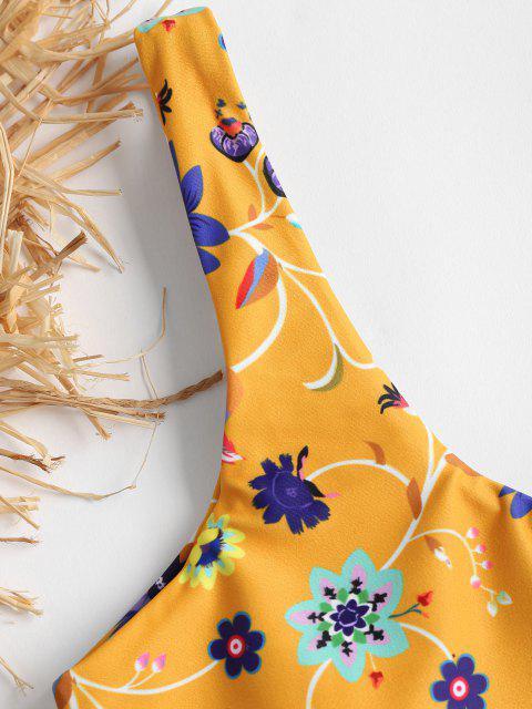 Blumen Ein Schulter Hoch Taillierter Bikini - Schulbus Gelb L Mobile