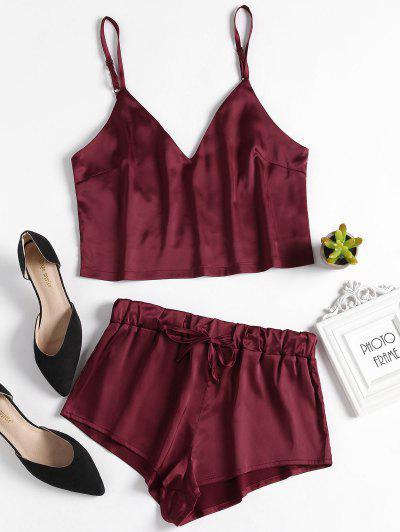 Cami Top And Shorts Satin Pajama Set - Red Wine M