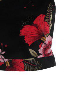 S Floral Mangas Anudada Camiseta Anudada Sin Negro xvYqgAt