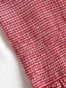 M Rojo De Vichy Cuadro Blusa Ahumado 4v0gCq