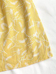 Con Plumas S Estampado De Vestido Amarillo dxF0wnqAw