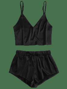 Negro And Conjunto 233;n Cami Shorts Top Pijama Sat S De De WCrWz