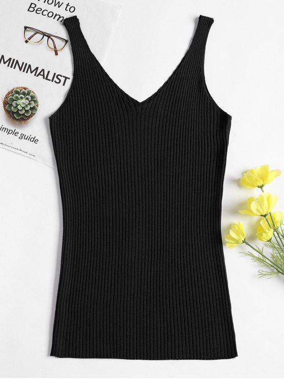 a30f0acdc277d5 17% OFF  2019 V Neck Rib Knit Tank Top In BLACK