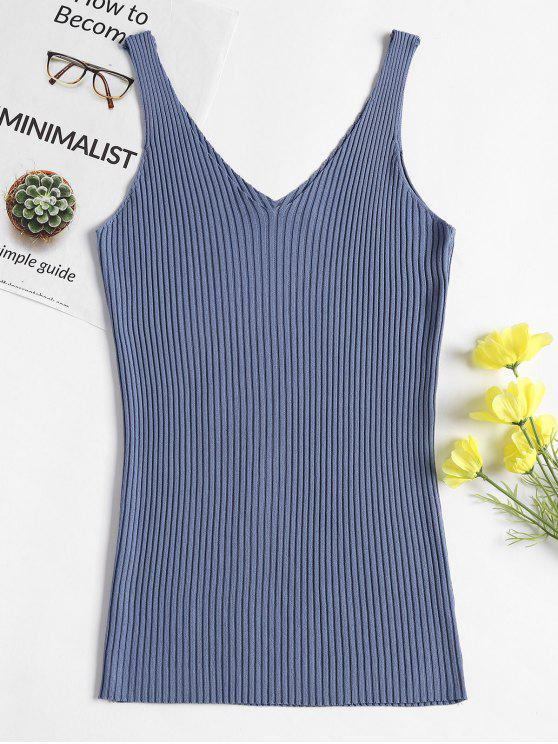 55874a51aba V Neck Rib Knit Tank Top
