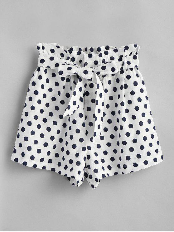 Shorts de cintura alta de bolinhas - Branco S