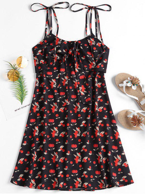 outfit Cherry Print Tie Strap A Line Sundress - BLACK L