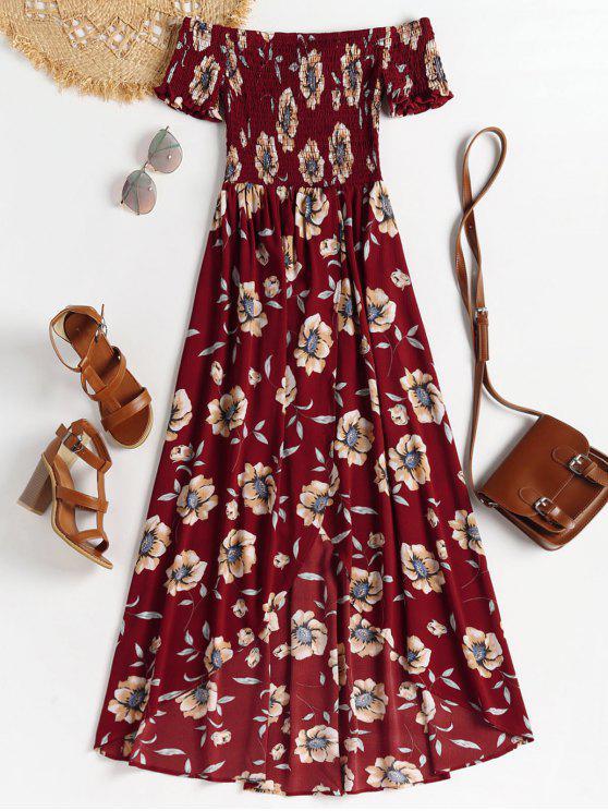 Robe Longue Smockée à épaules Dénudées - Rouge Cerise M