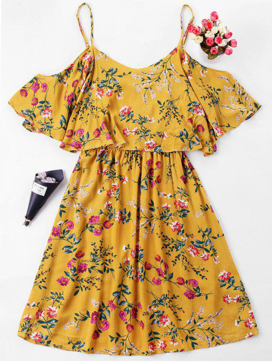 hot Floral Print Overlay Slip Dress - SCHOOL BUS YELLOW L