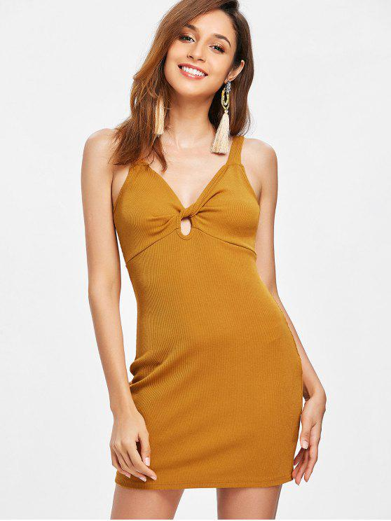 chic Ribbed Twist Bodycon Dress - LIGHT BROWN S