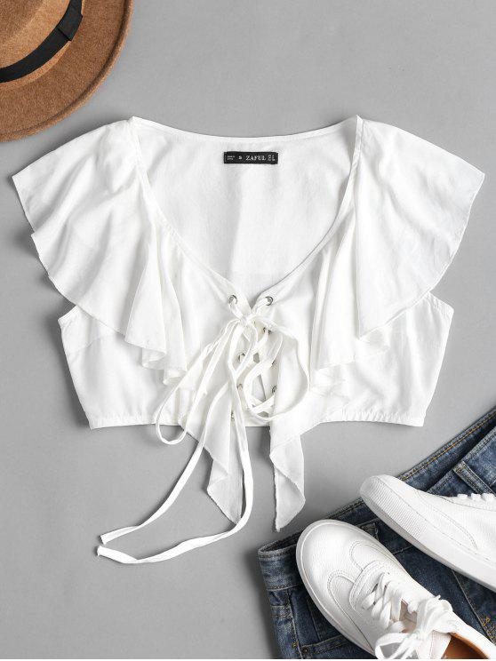 fashion Lace Up Low Cut Blouse - WHITE L