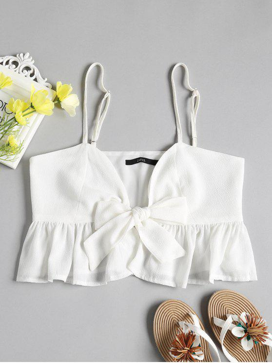lady Ruffle Tie Front Cami Peplum Top - WHITE M