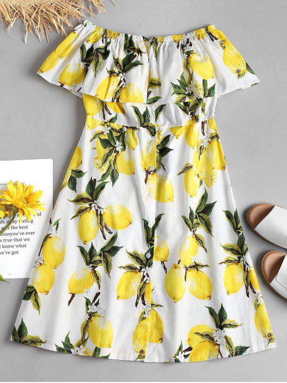 trendy Lemon Ruffle Off The Shoulder Midi Dress - WHITE S