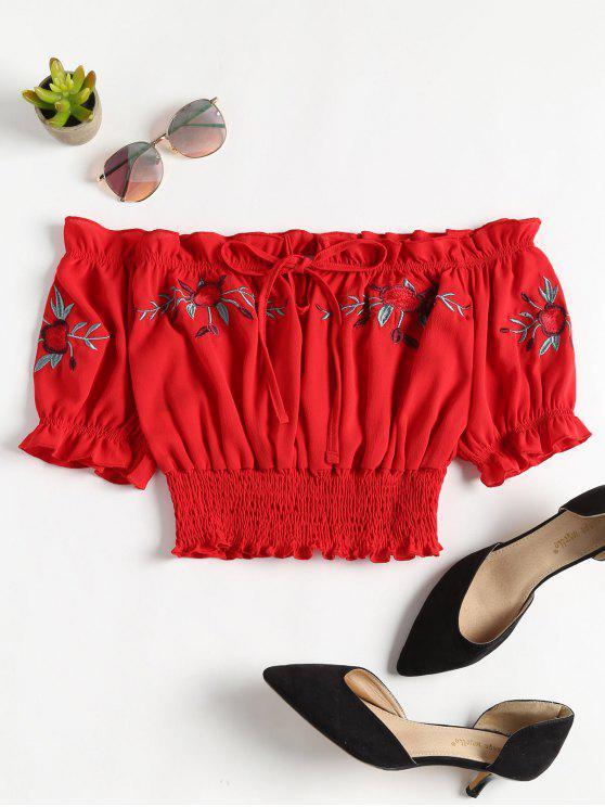 sale Off Shoulder Shirred Top - RED S