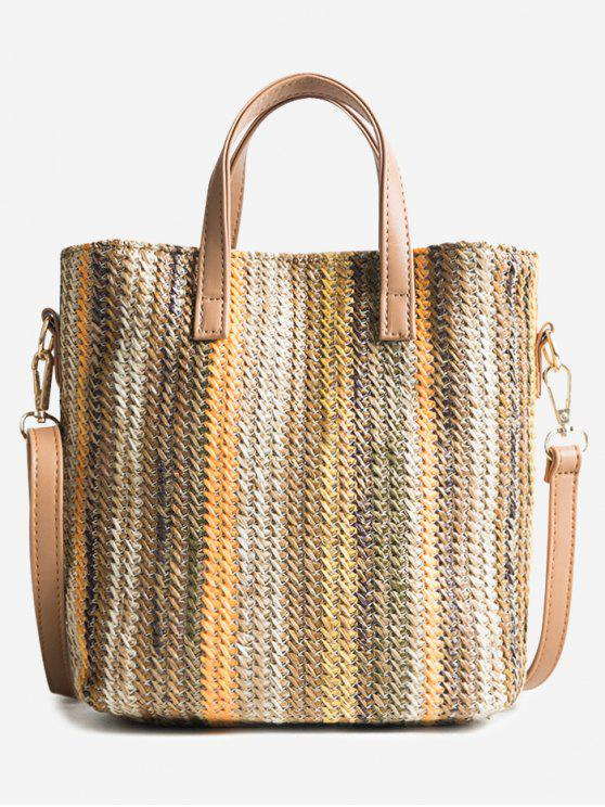 women Travel Vacation Leisure Straw Tote Bag - BEE YELLOW