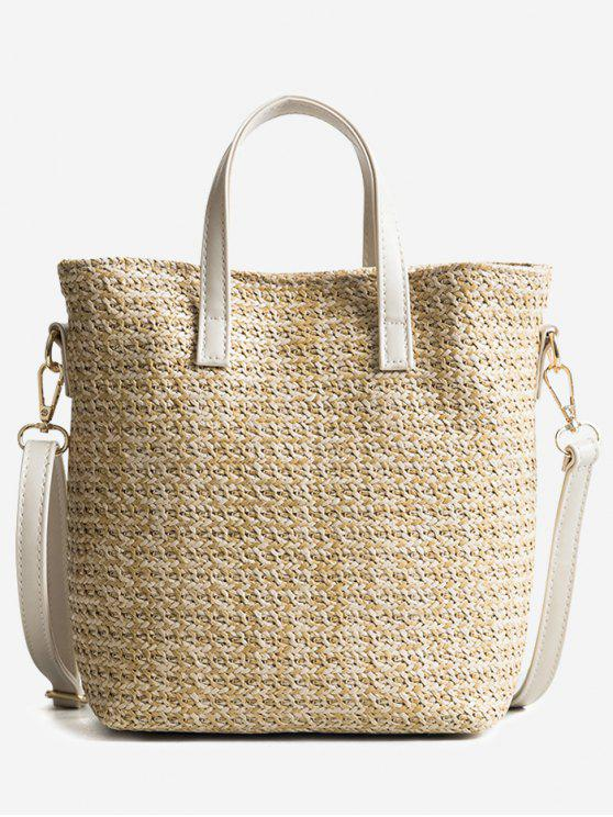 women's Travel Vacation Leisure Straw Tote Bag - BEIGE