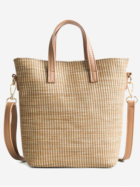ladies Travel Vacation Leisure Straw Tote Bag - LIGHT KHAKI