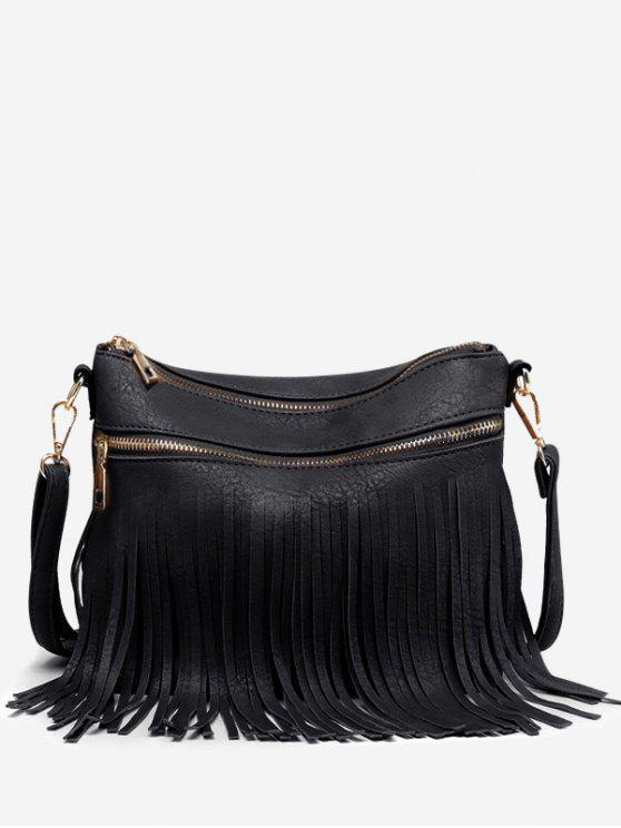 Fringe PU cuero Chic Crossbody Bag - Negro