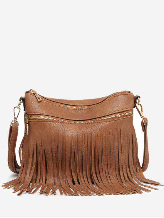 Fringe PU Leather Chic Bolsa Crossbody - Castanha