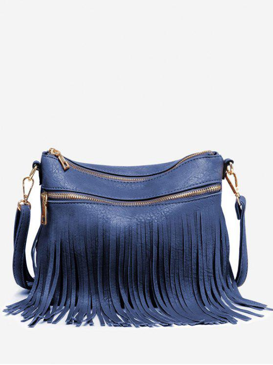 Fringe PU cuero Chic Crossbody Bag - Azul