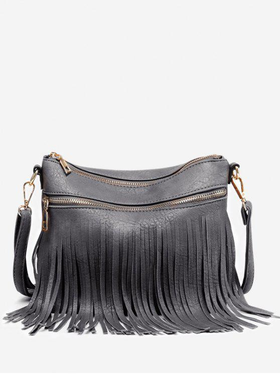 Fringe PU Leather Chic Bolsa Crossbody - Cinza