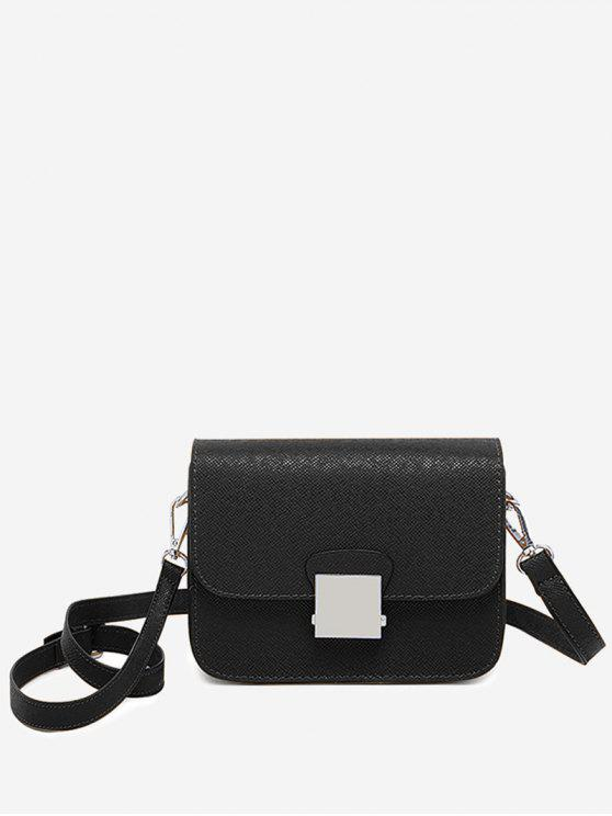 hot Minimalist Chic Flapped Crossbody Bag - BLACK