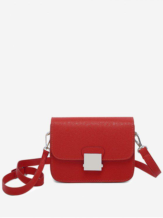 outfit Minimalist Chic Flapped Crossbody Bag - RED