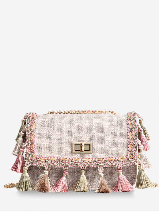 fashion Tribal Tassels Color Block Crossbody Bag - LIGHT KHAKI
