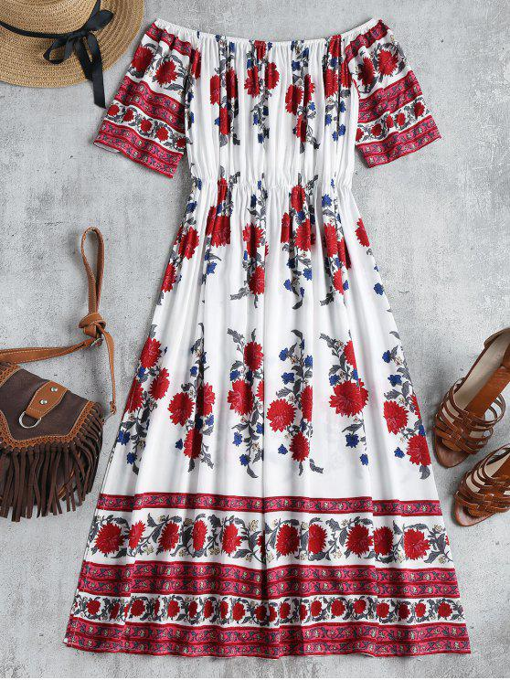 women Floral Print Off Shoulder Dress - MULTI L