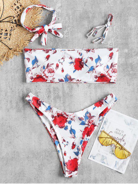 fancy Floral High Leg Choker Bikini Set - WHITE M