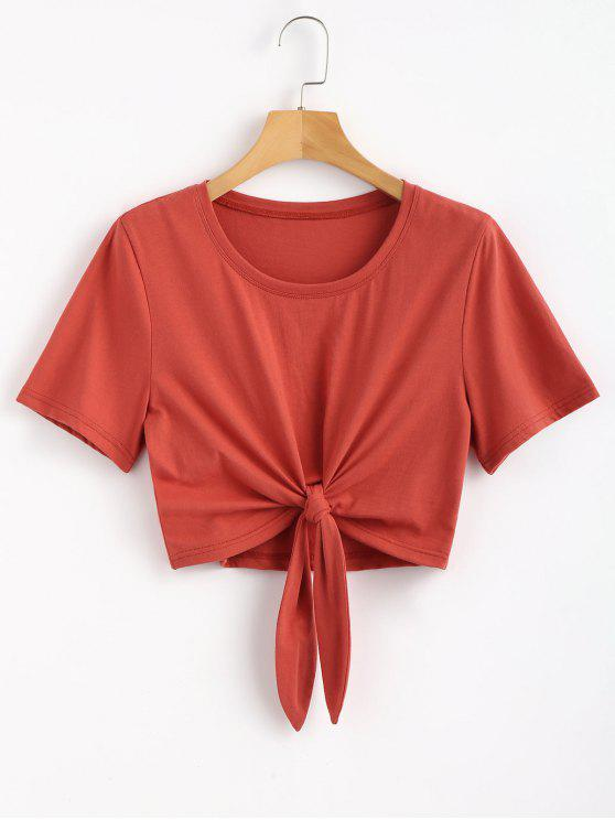 shop Knotted Hem Tee - CHESTNUT RED M