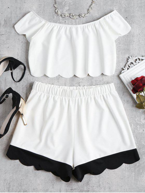 Pantalones cortos de hombro festoneado conjunto - Blanco L