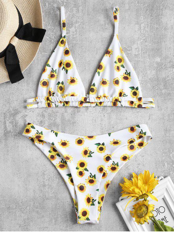 Bikini A Taglio Alto Con Stampa Di Girasole - Bianca L