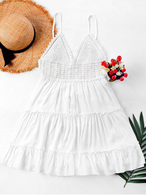 hot Crochet Panel Cami Flare Dress - WHITE S