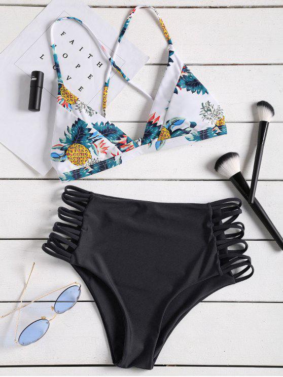 women's Tropical Printed Strappy High Waisted Bikini Set - BLACK L