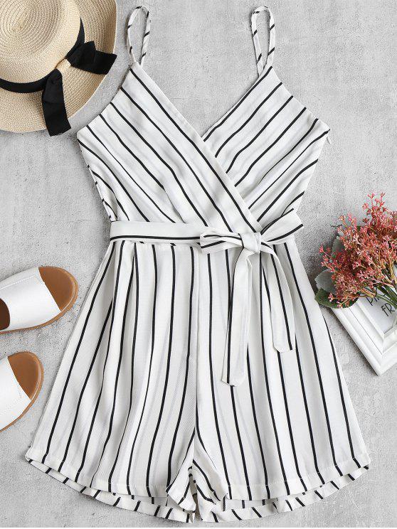 womens Striped Cami Belted Romper - WHITE L