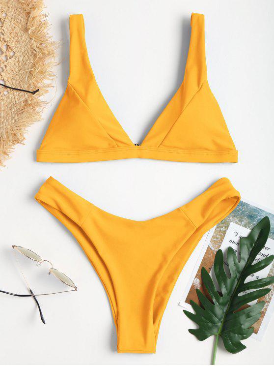 shop Plunge High Leg Bikini - MUSTARD M